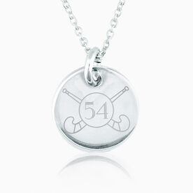 Sterling Silver 20mm Circle Necklace Field Hockey Number