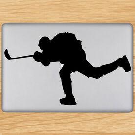Hockey Player Shooting Removable ChalkTalkGraphix Laptop Decal