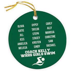Swimming Porcelain Ornament Personalized Team Roster