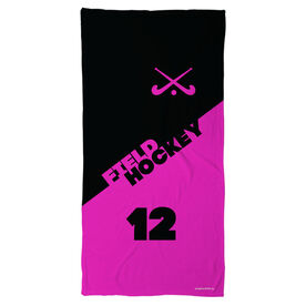 Field Hockey Beach Towel Personalized Crossed Sticks Color Block