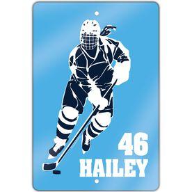 "Hockey Aluminum Room Sign (18""x12"") Personalized Girl Hockey Silhouette"