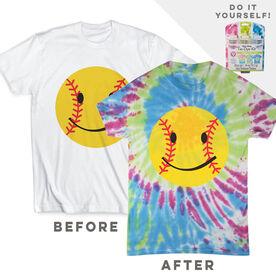 DIY Softball Smiley - White Tee Ready for Tie-Dye