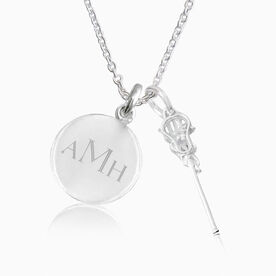 Livia Collection Sterling Silver and Cubic Zirconia Lacrosse Engraved Monogram Necklace