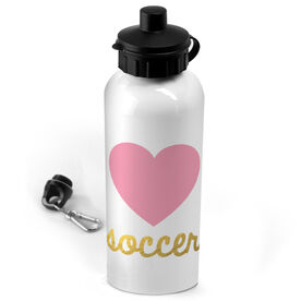 Soccer 20 oz. Stainless Steel Water Bottle Heart with Gold Soccer