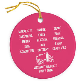 Cheerleading Porcelain Ornament Personalized Team Roster