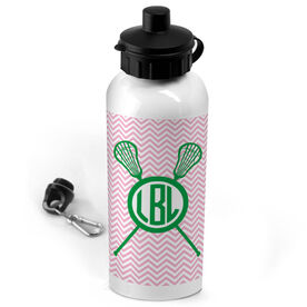Lacrosse 20 oz. Stainless Steel Water Bottle Monogram with Crossed Sticks and Chevron