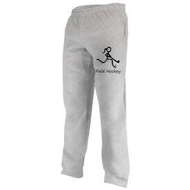 """""""Field Hockey"""" Girl (Stick Figure-w/word) Fleece Sweatpants"""