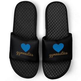 Gymnastics Black Slide Sandals - Heart with Glitter Gymnastics