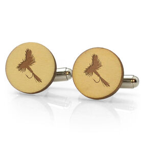 Fly Fishing Engraved Wood Cufflinks Dry Fly