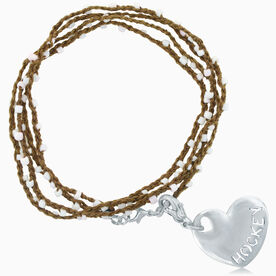 Hockey Beaded Wrap Bracelet with Hockey Sport Heart Charm