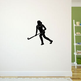 Field Hockey Girl Running Removable ChalkTalkGraphix Wall Decal