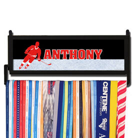 RunnersWALL Personalized 2 Tier Hockey Player Medal Display