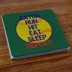 Catch Run Hit Eat Sleep Repeat - Stone Coaster