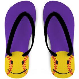 Softball Flip Flops Smiley
