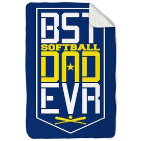 Softball Sherpa Fleece Blanket - Best Dad Ever Shield
