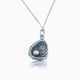 Sterling Silver  Necklace  - Softball/ Baseball Glove and Ball
