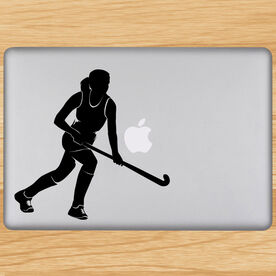 Field Hockey Field Hockey Girl Running Removable ChalkTalkGraphix Laptop Decal