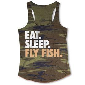 Fly Fishing Camouflage Racerback Tank Top - Eat. Sleep. Fly Fish.