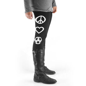 Soccer High Print Leggings Peace Love Soccer