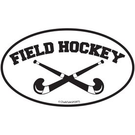 Field Hockey Crossed Sticks Oval Car Magnet (Black)