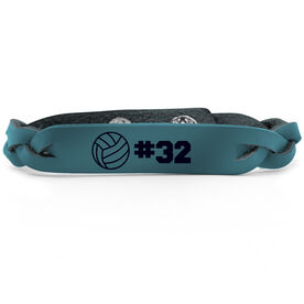 Volleyball Leather Engraved Bracelet Ball with Number