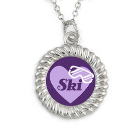Skiing Braided Circle Necklace - Winter Love