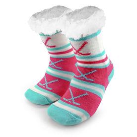Hockey Slipper Socks with Sherpa Lining (Pink)