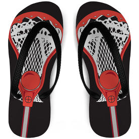 Guys Lacrosse Flip Flops Stick Black/Red