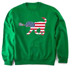 Girls Lacrosse Crew Neck Sweatshirt Patriotic LuLa the Lax Dog