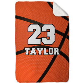 Basketball Sherpa Fleece Blanket Personalized Big Number