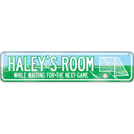 """Soccer Aluminum Room Sign Personalized Soccer Room (4""""x18"""")"""