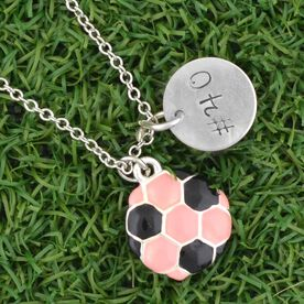"""Sterling Hand Stamped .5"""" Curly Font Number Pendant & Silver Plated Pink Soccer Charm Necklace"""