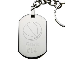 Basketball Engraved Stainless Steel Dog Tag Keychain