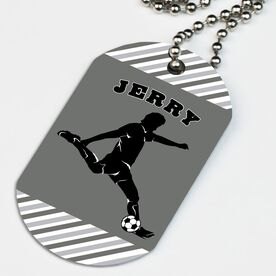 Soccer Printed Dog Tag Necklace Personalized Soccer Player Guy