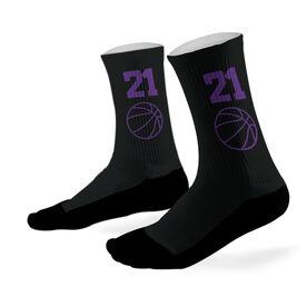 Basketball Printed Mid Calf Socks Basketball Team Colors