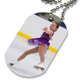 Custom Figure Skating Photo Printed Dog Tag Necklace