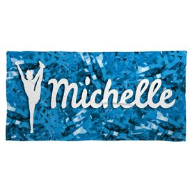 Cheer Beach Towel Personalized Silhouette with Pom Poms