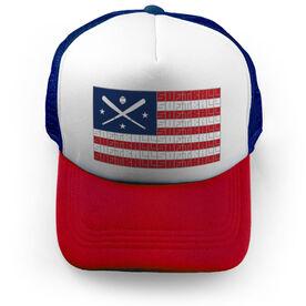 Softball Trucker Hat - American Flag Words