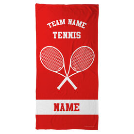 Tennis Beach Towel Personalized Team with Crossed Rackets