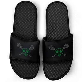 Lacrosse Black Slide Sandals - Sticks & Skull