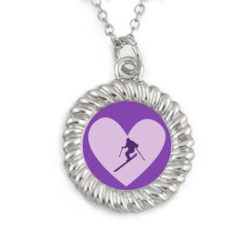 Skiing Braided Circle Necklace Heart Skier Silhouette