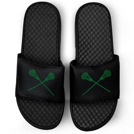 Guys Lacrosse Black Slide Sandals - Crossed Sticks