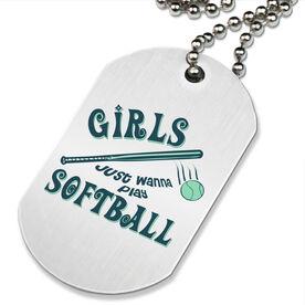 Girls Just Wanna Play Softball Printed Dog Tag Necklace