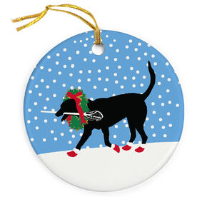 Guys Lacrosse Porcelain Ornament Max The Lax Dog with Christmas Wreath