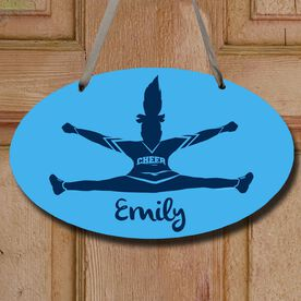 Cheerleading Oval Sign Personalized Toe Touch Cheer Girl