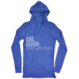 Triathlon Lightweight Performance Hoodie Eat. Sleep. Swim. Bike. Run.