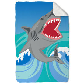 Swimming Sherpa Fleece Blanket Shark Attack