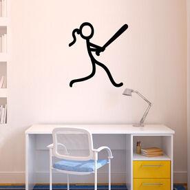 Softball Stick Figure Removable ChalkTalkGraphix Wall Decal