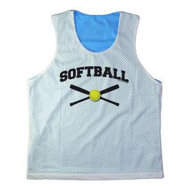 Girls Softball Racerback Pinnie Personalized Softball with Crossed Bats Black