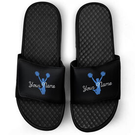 Cheerleading Black Slide Sandals - Jump With Joy with Your Name